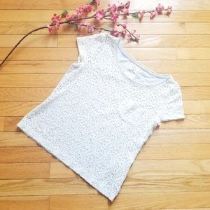 Hollister White Lacey Shortsleeve Tee